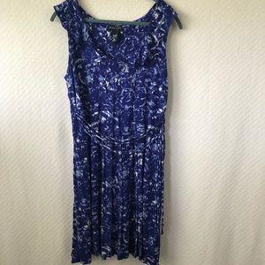 New York & Co Blue/White Sleeveless Dress-XL
